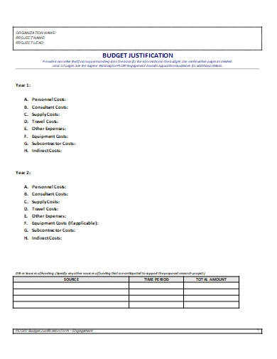 budget justification template