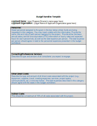 budget narrative template