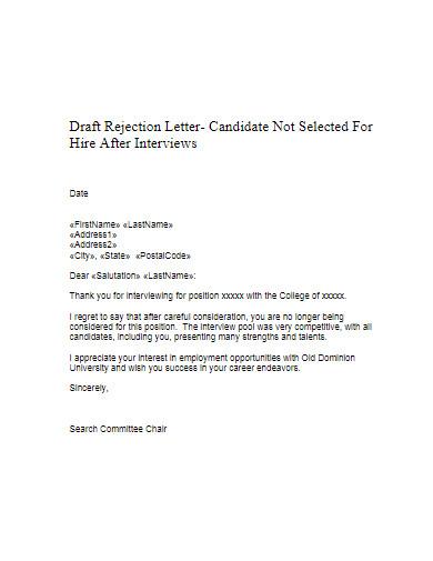 candidate job rejection letter