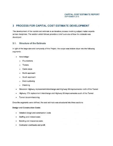 capital cost estimate report