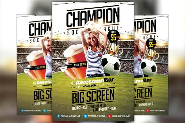 champion league soccer flyer