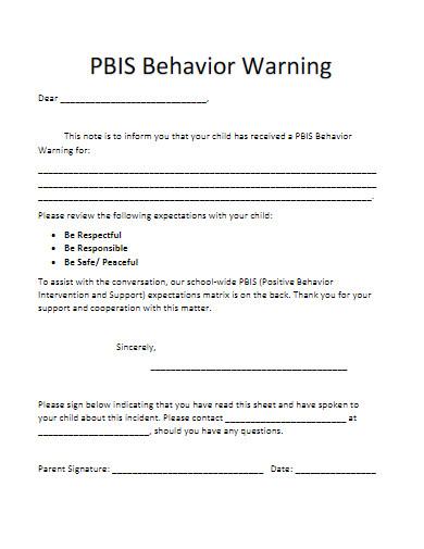 child behavior warning letter