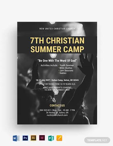 christian summer camp flyer template