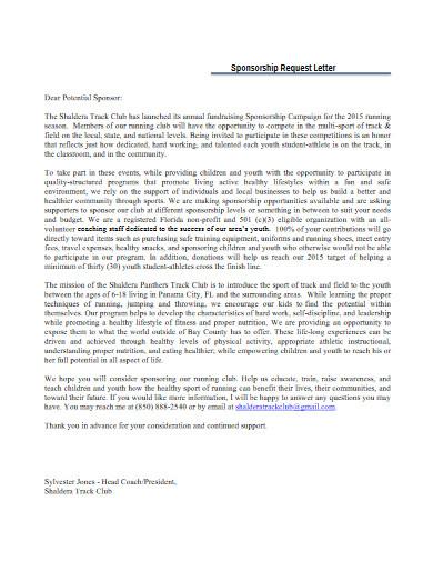 club sponsorship request letter