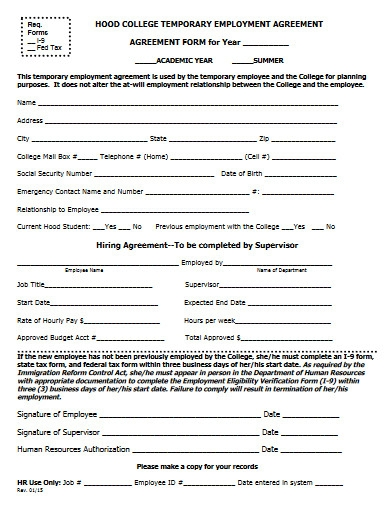 college temporary employment agreement in pdf