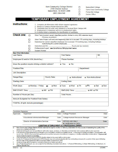 college temporary employment agreement