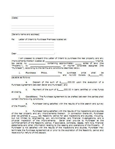 commercial purchase letter of intent