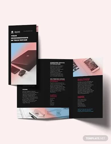 computer repair tri fold brochure template