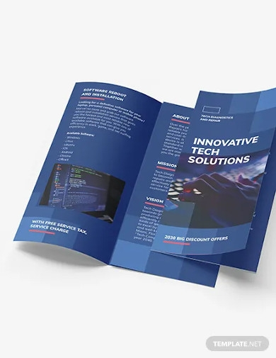 computer service tri fold brochure template