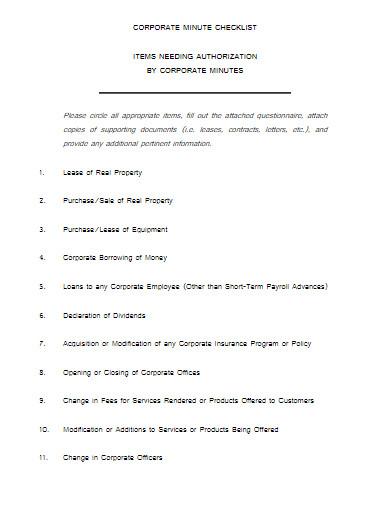 corporate minute checklist