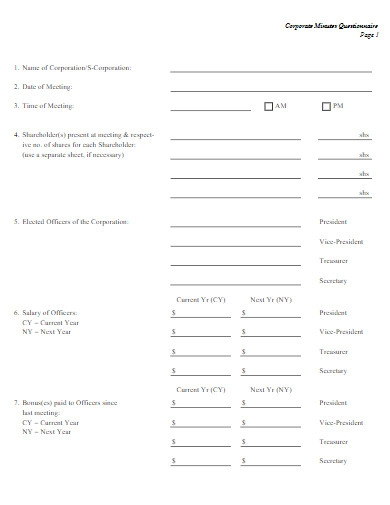 corporate minutes questionnaire