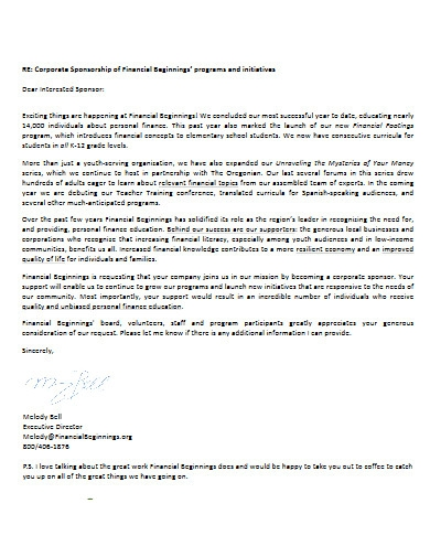 corporate sponsorship request letter