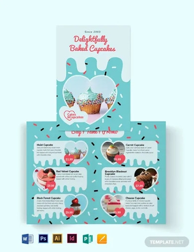 cupcake bakery bi fold brochure template