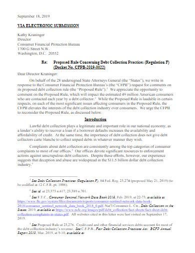 debt collection comment letter