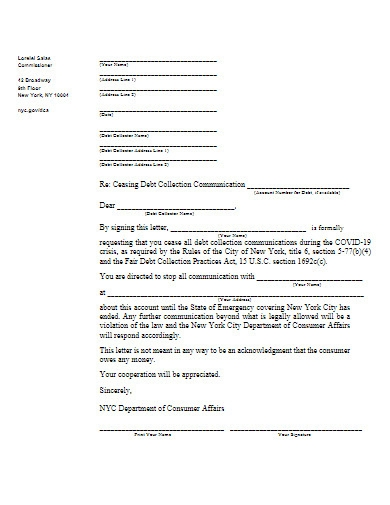 debt collection communication letter