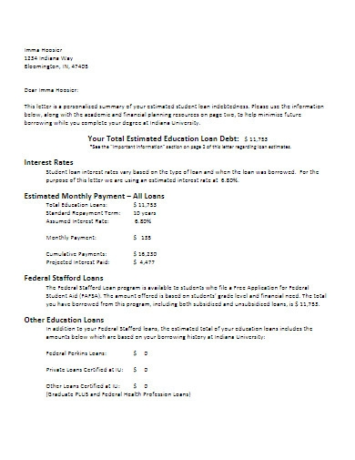 debt letter example