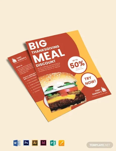 double sided fast food flyer template