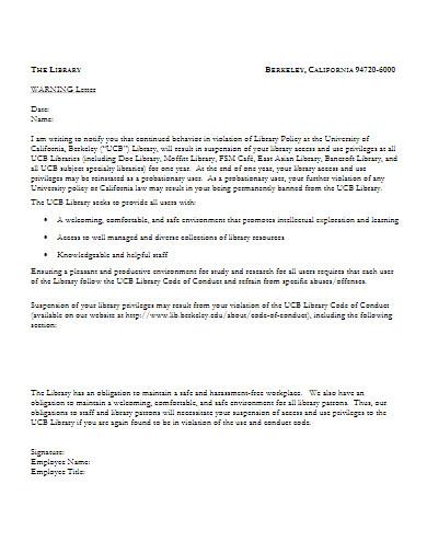 employee behavior warning letter