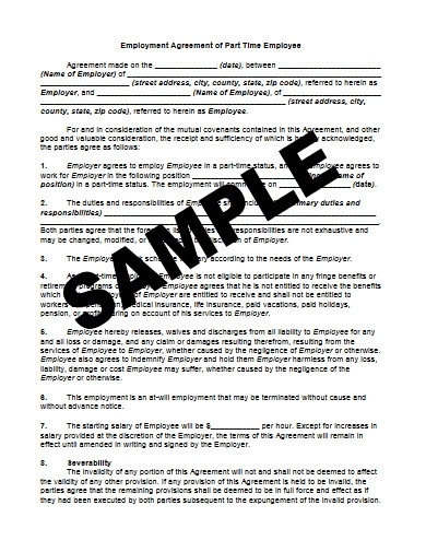employment agreement of part time employee