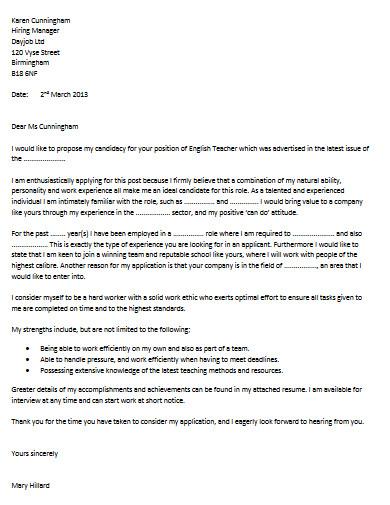english teacher cover letter