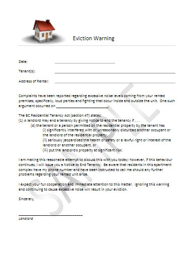 eviction tenant warning letter