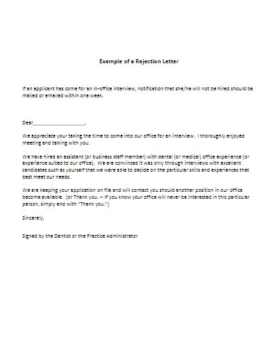 example of applicant rejection letter