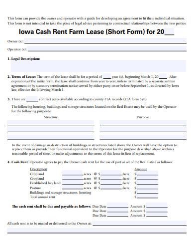 farm lease agreement form