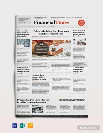 financial newspaper template