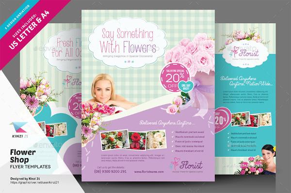flower shop flyer in psd