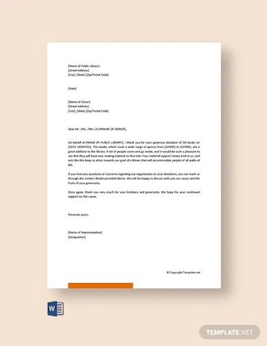 free acknowledgement letter for book donation