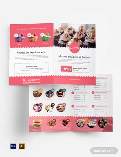 free bakery bi fold brochure template