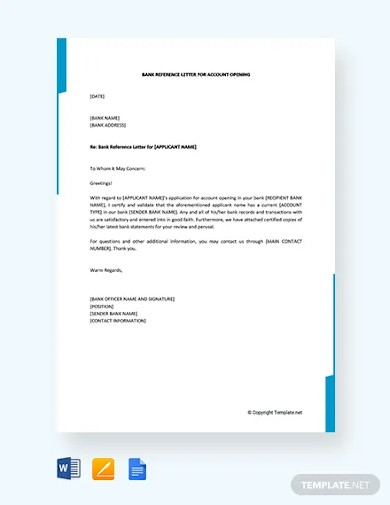 free bank reference letter for account opening
