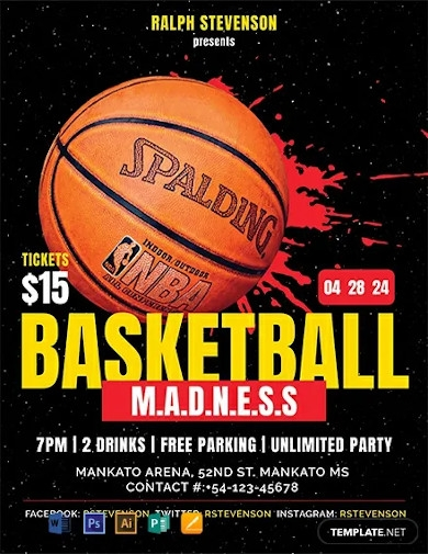 free basketball madness flyer template