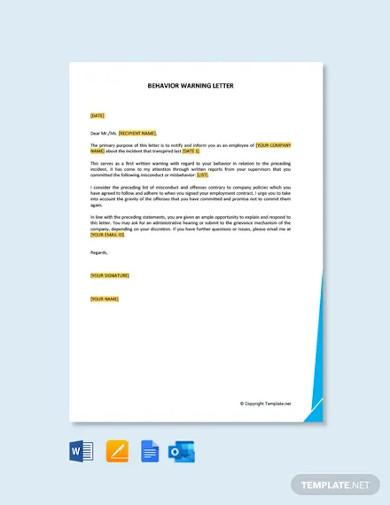 free behavior warning letter