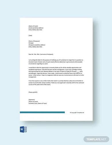 free coaching resignation letter