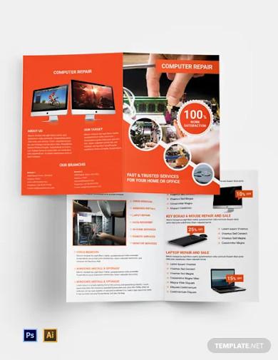 free computer repair bi fold brochure template