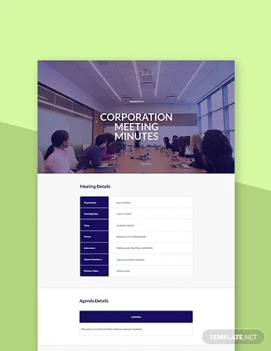 free corporation meeting minutes template