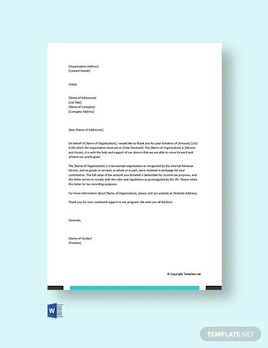 free donation acknowledgement letter
