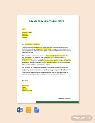 free drama teacher cover letter template