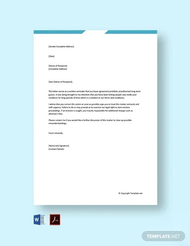 free landlord warning letter to tenant