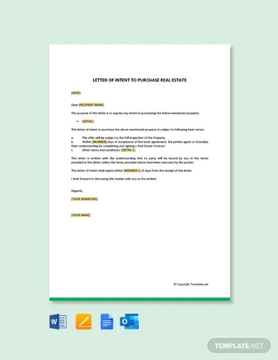 free letter of intent to purchase real estate