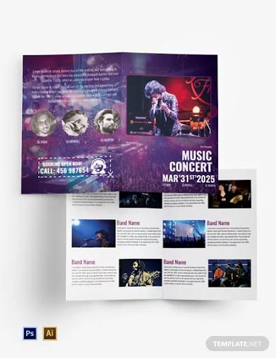 free music band bi fold brochure template