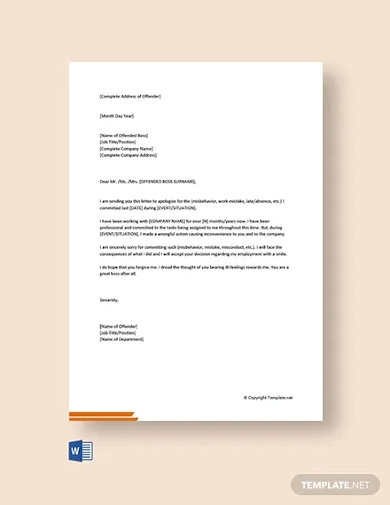 free personal apology letter to boss