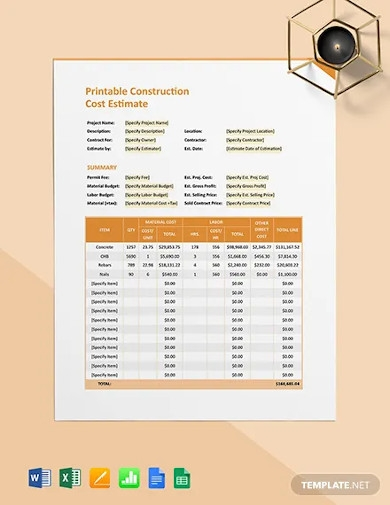 free printable construction cost estimate template