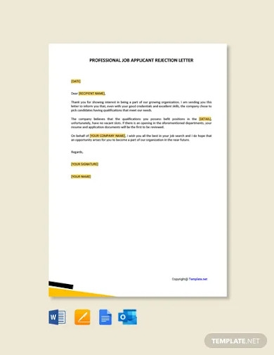 free professional job applicant rejection letter