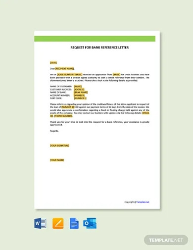 free request for bank reference letter