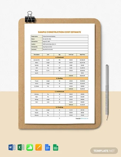 free sample construction cost estimate template