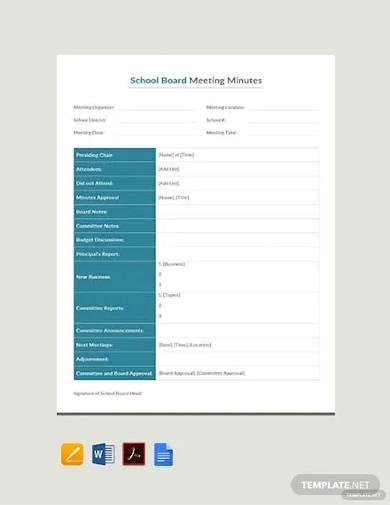 free sample school board meeting minutes