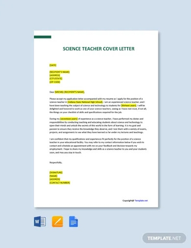 free science teacher cover letter template