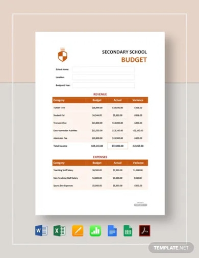free secondary school budget template